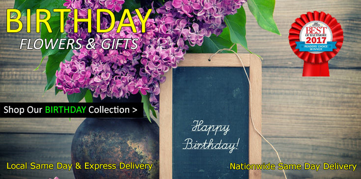 Shop Radebaugh Florist for the best selection of Birthday Flowers, Plants and Gifts in Baltimore Maryland.